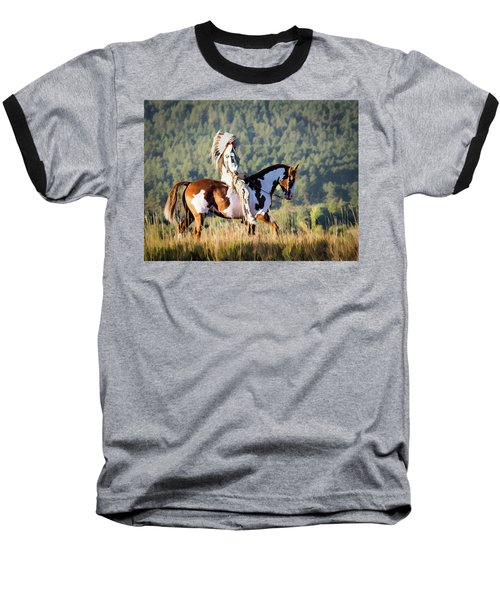 Native American On His Paint Horse Baseball T-Shirt