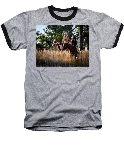 Native Americans On Horses In The Morning Light Baseball T-Shirt by Nadja Rider