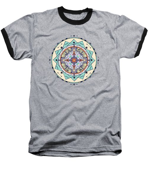 Native Symbols Mandala Baseball T-Shirt by Deborah Smith
