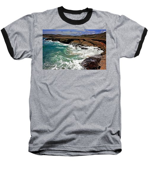 Baseball T-Shirt featuring the photograph Natural Bridge Aruba by Suzanne Stout