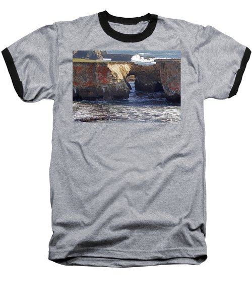 Natural Bridge At Point Arena Baseball T-Shirt by Mick Anderson