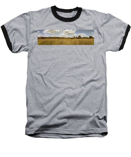 Natural Meadow Landscape Panorama. Baseball T-Shirt