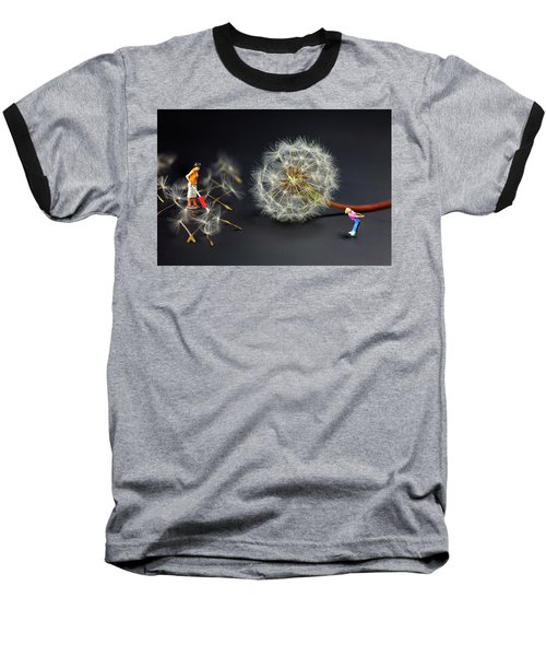 Baseball T-Shirt featuring the painting Naughty Girl Playing Dandelion Little People Big World by Paul Ge