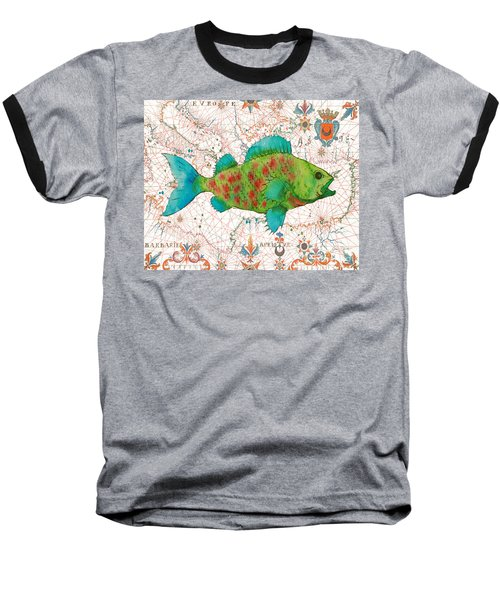 Baseball T-Shirt featuring the painting Nautical Treasures-a by Jean Plout