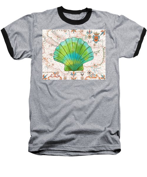 Baseball T-Shirt featuring the painting Nautical Treasures-b by Jean Plout