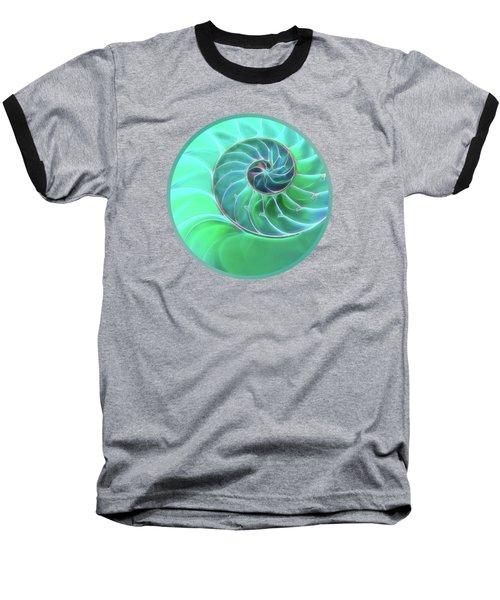Nautilus Aqua Spiral Baseball T-Shirt by Gill Billington