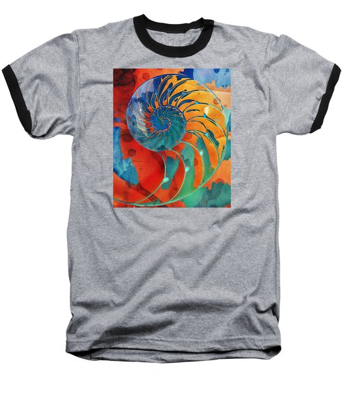 Nautilus Shell Orange Blue Green Baseball T-Shirt