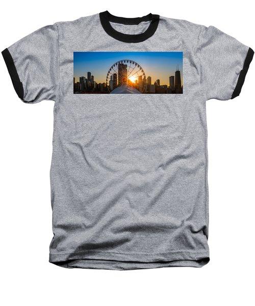 Navy Pier Sundown Chicago Baseball T-Shirt by Steve Gadomski