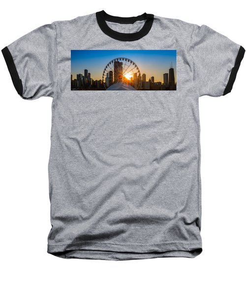 Navy Pier Sundown Chicago Baseball T-Shirt