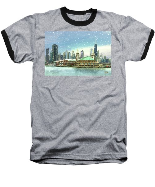 Baseball T-Shirt featuring the painting Navy Pier Winter Snow by Doug Kreuger