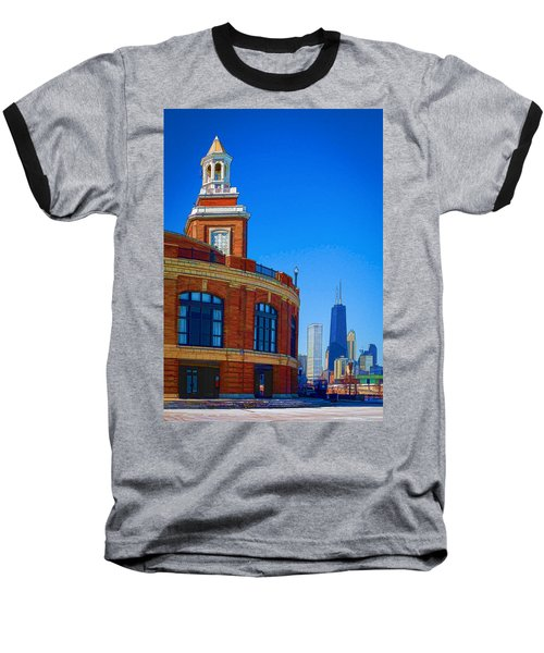 Navy Pier With Texture Baseball T-Shirt by Kathleen Scanlan