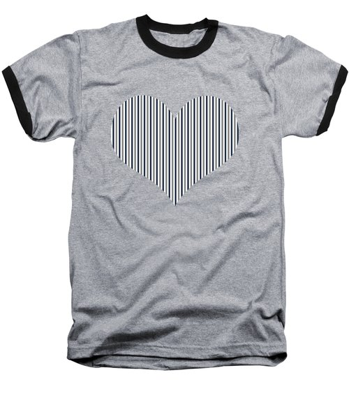 Navy White And Grey Vertical Stripes Baseball T-Shirt