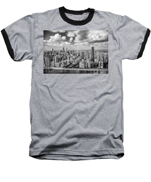 Baseball T-Shirt featuring the photograph Near North Side And Gold Coast Black And White by Adam Romanowicz