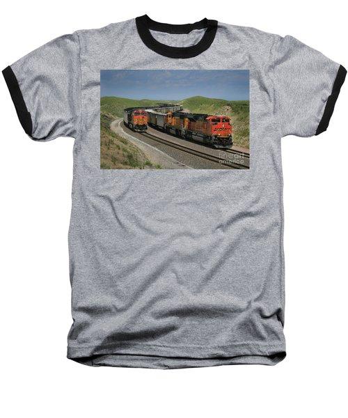 Nebraska Coal Trains Baseball T-Shirt by Garry McMichael
