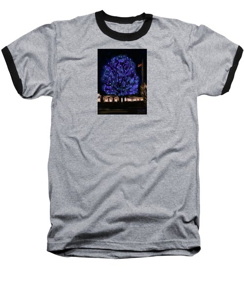 Baseball T-Shirt featuring the painting Needham's Blue Tree by Jean Pacheco Ravinski