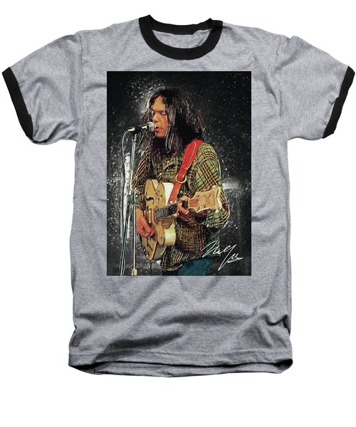 Neil Young Baseball T-Shirt by Taylan Apukovska