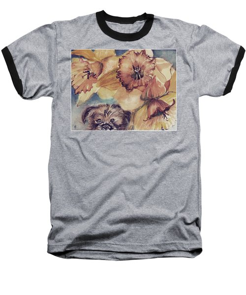 Baseball T-Shirt featuring the painting Nellie Mae by Mindy Newman