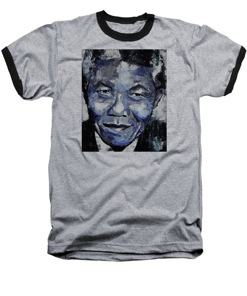 Nelson Mandela Baseball T-Shirt by Richard Day