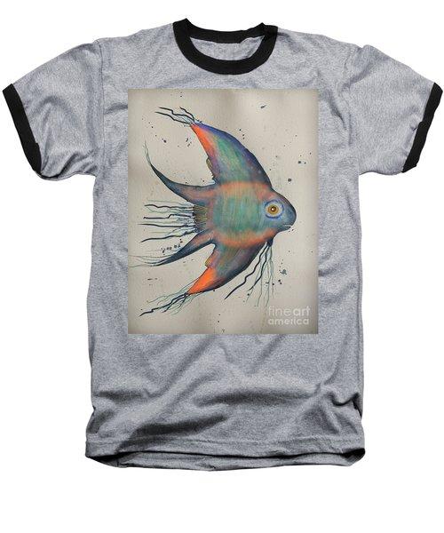 Baseball T-Shirt featuring the mixed media Neon Blue Fish by Walt Foegelle