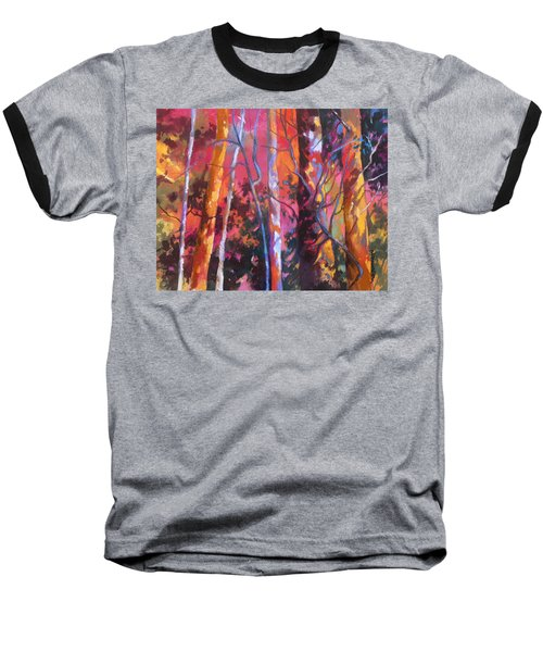 Baseball T-Shirt featuring the painting Neon Damsels by Rae Andrews