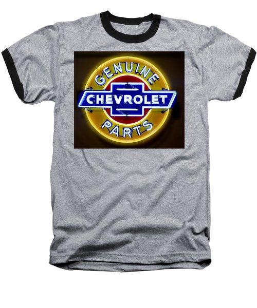 Neon Genuine Chevrolet Parts Sign Baseball T-Shirt