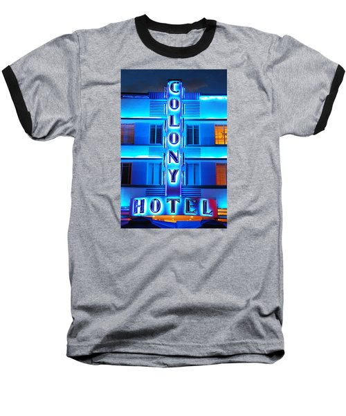 Neon Lights Of The Colony Hotel, Miami Beach Baseball T-Shirt by James Kirkikis