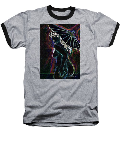 Baseball T-Shirt featuring the painting Neon Moon by Tbone Oliver