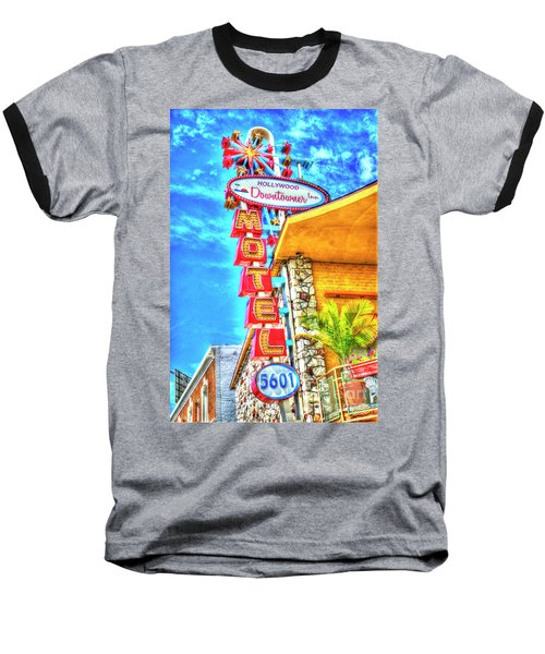 Neon Motel Sign Baseball T-Shirt by Jim And Emily Bush