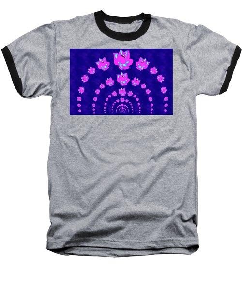 Neon Pink Lotus Arch Baseball T-Shirt