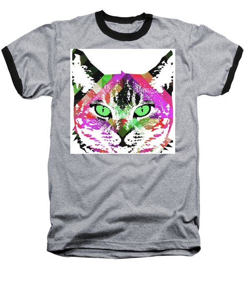 Neon Rainbow Kitty Cat Poster Print By Robert R Baseball T-Shirt
