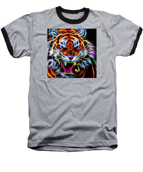Neon Tiger Baseball T-Shirt by Andreas Thust