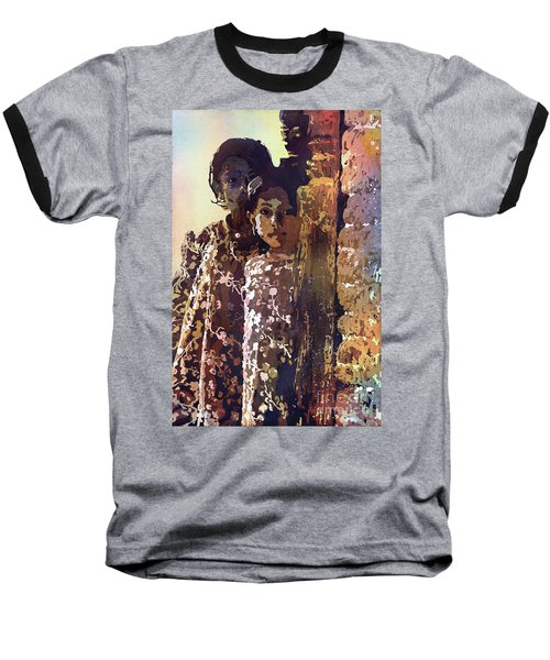 Baseball T-Shirt featuring the painting Nepalese Girls by Ryan Fox