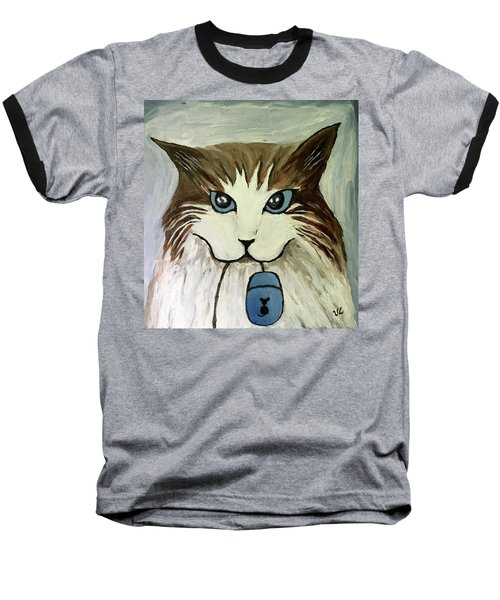 Baseball T-Shirt featuring the painting Nerd Cat by Victoria Lakes