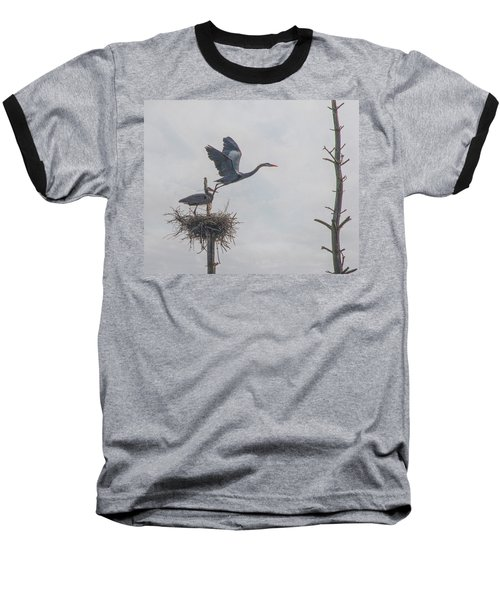 Nesting Great Blue Heron Baseball T-Shirt