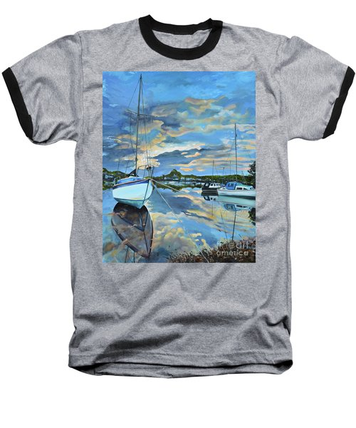 Nestled In For The Night At Mylor Bridge - Cornwall Uk - Sailboat  Baseball T-Shirt