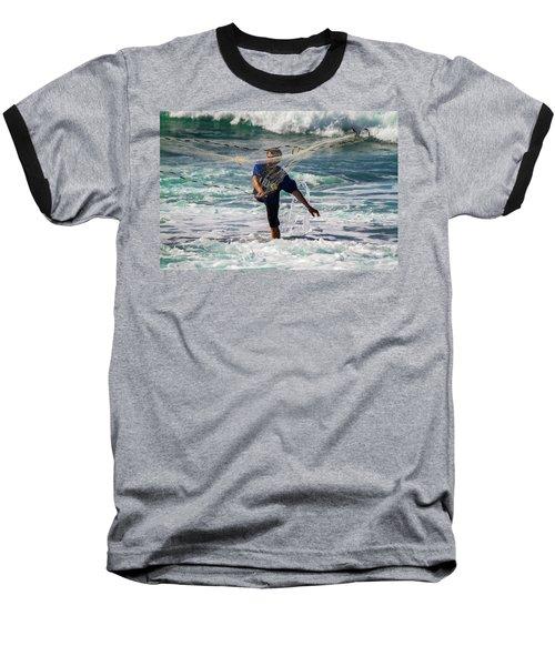Net Fishing Baseball T-Shirt by Roger Mullenhour