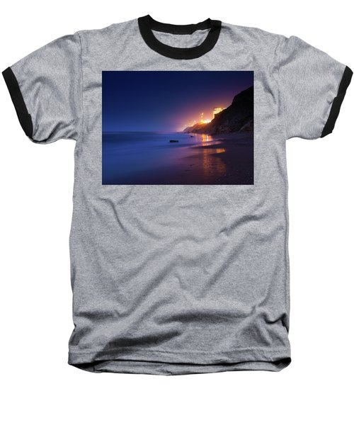 Netanya Beach At Night Baseball T-Shirt