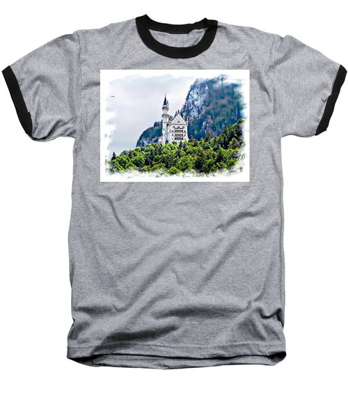 Neuschwanstein Castle With A Glider Baseball T-Shirt by Joseph Hendrix