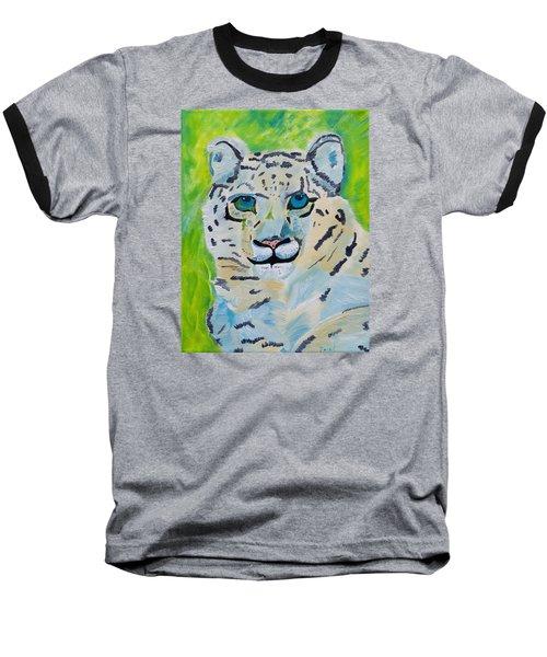 Eyes On You Snow Leopard Baseball T-Shirt by Meryl Goudey
