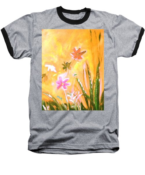 Baseball T-Shirt featuring the painting New Daisies by Winsome Gunning