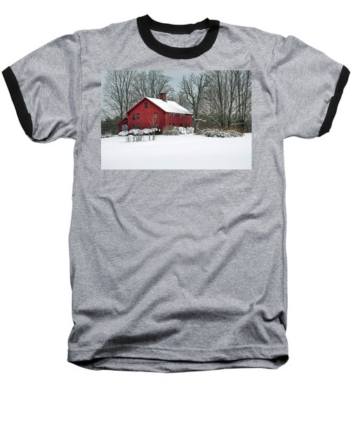 New England Colonial Home In Winter Baseball T-Shirt
