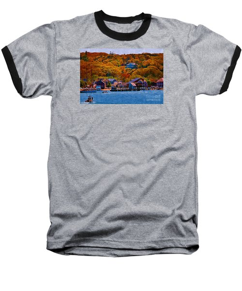 Baseball T-Shirt featuring the digital art New England Fall Coastline by Kirt Tisdale