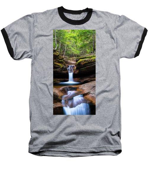 New Hampshire Sabbaday Falls And Fall Foliage Panorama Baseball T-Shirt