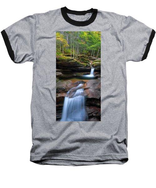 New Hampshire Sabbaday Falls Panorama Baseball T-Shirt by Ranjay Mitra