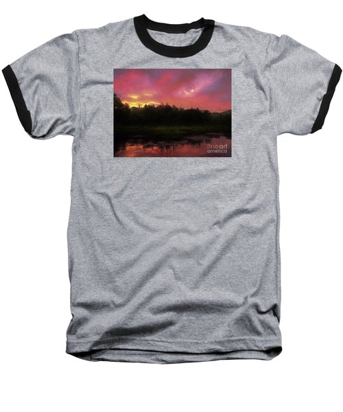 Baseball T-Shirt featuring the photograph New Hampshire Sunrise Glaze by Mim White