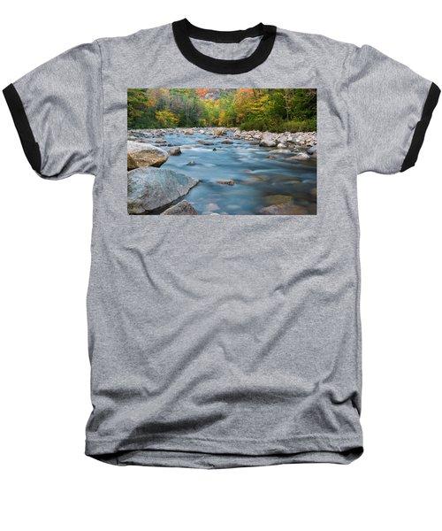 New Hampshire Swift River And Fall Foliage In Autumn Baseball T-Shirt by Ranjay Mitra