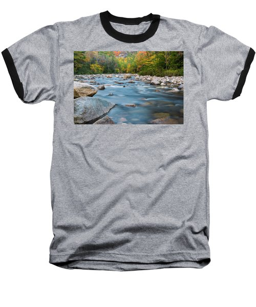 New Hampshire Swift River And Fall Foliage In Autumn Baseball T-Shirt