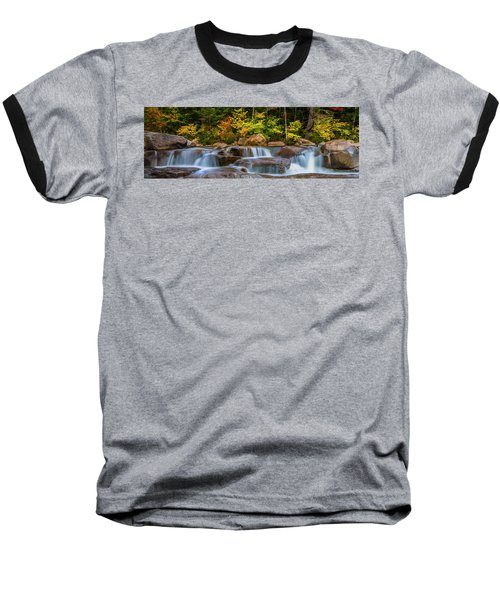 New Hampshire White Mountains Swift River Waterfall In Autumn With Fall Foliage Baseball T-Shirt by Ranjay Mitra
