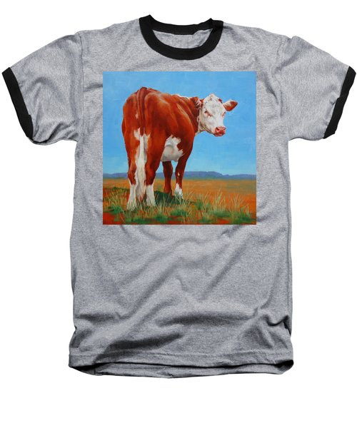 Baseball T-Shirt featuring the painting New Horizons Undecided by Margaret Stockdale