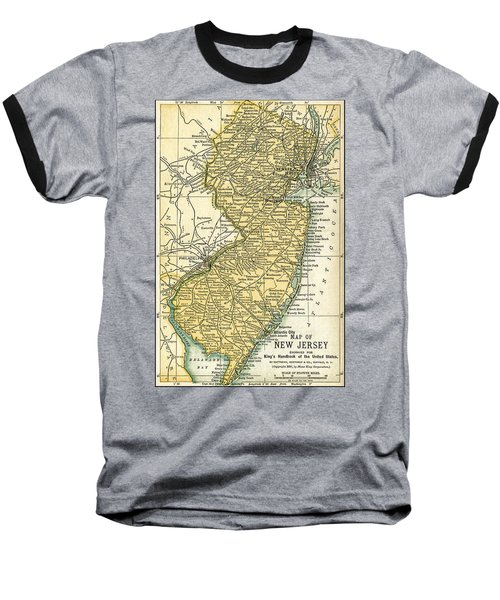 New Jersey Antique Map 1891 Baseball T-Shirt
